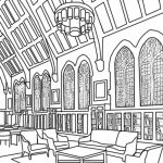 Gothic Reading Room coloring book page